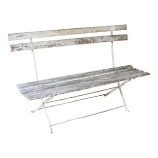 Antique French Folding Bistro Bench For Sale