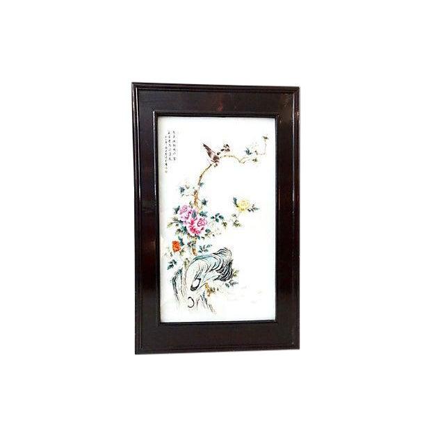Famille Rosewood & Porcelain Panel For Sale