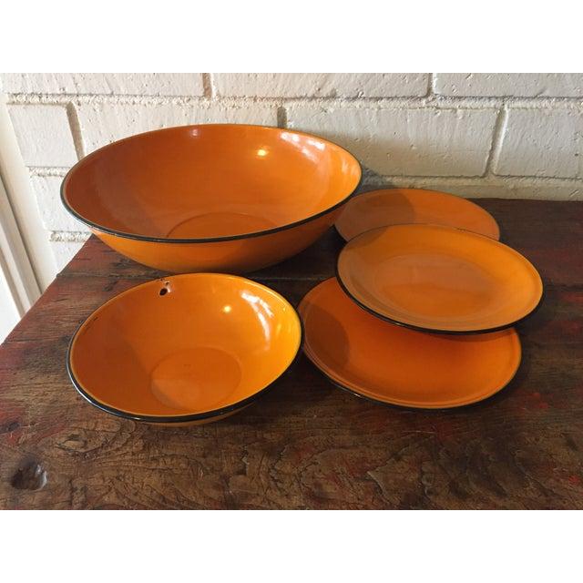 5-Piece Orange & Black Rim Enamelware - Image 2 of 8