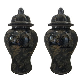 Hollywood Regency Chinese Chinoiserie Black & Gold Dragon Porcelain Ginger Jars - A Pair