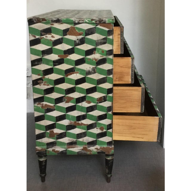 Geometric Hand Painted Antique Chest of Drawers - Image 7 of 10