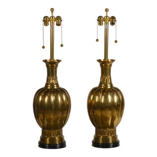 Pair of Chic Hollywood Regency Marbro Brass Lamps For Sale