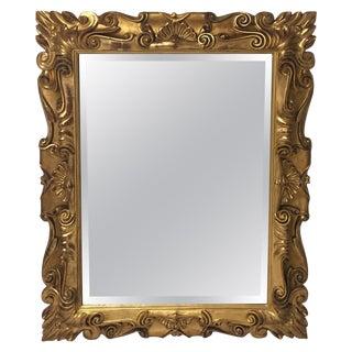 Impressive Italian Carved 22-Carat Gold Leaf Giltwood Mirror For Sale