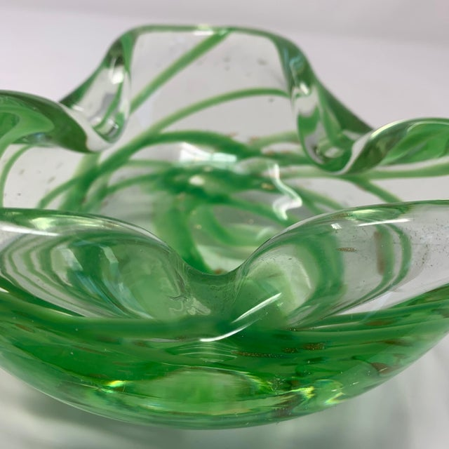 Glass Vintage 1970s Green Murano Glass Dish or Ashtray For Sale - Image 7 of 8