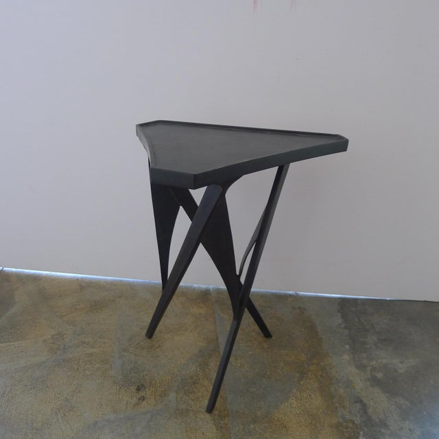 Paul Marra Triangular Steel Side Table. Modern table with sculptural base and bronze finish. Sides are slightly curved...