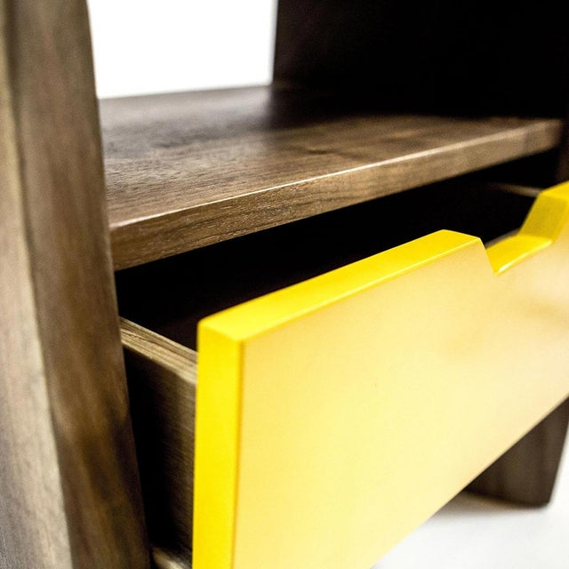 Live Edge Nightstand with Yellow Drawer - Image 7 of 8
