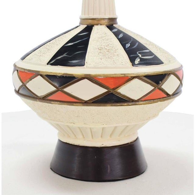 Ceramic Pair of Walnut and Art Pottery Table Lamps For Sale - Image 7 of 7