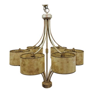 Contemporary Brushed Gold Metal Chandelier For Sale