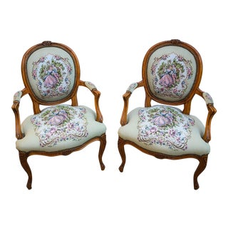 Vintage Mid-Century French Provincial Louis XV Style Tapestry Armchairs - A Pair For Sale