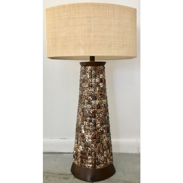 1990s XL Mosaic Shell Table Lamp With Shade For Sale - Image 5 of 11