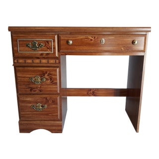 1980s Vintage Wood Single Pedestal Desk For Sale