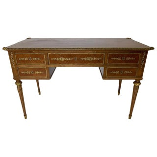 French Style Mahogany and Satinwood Writing Desk With Ormolu For Sale