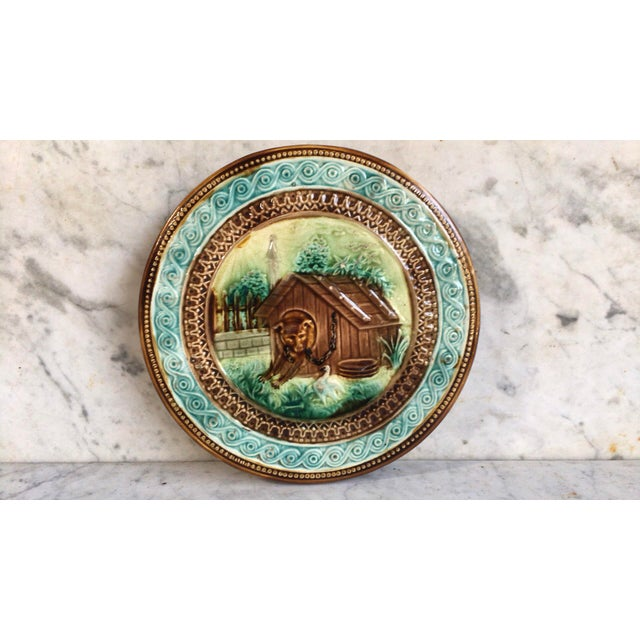 French Majolica Dog Trivet Onnaing Circa 1890 For Sale - Image 4 of 6