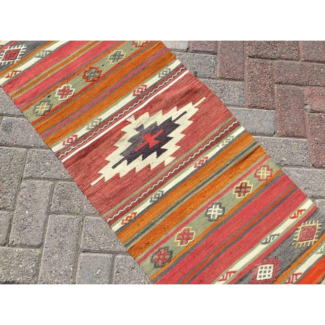 Vintage Turkish Kilim RugTurkish Kilim Runner Rug For Sale - Image 4 of 8