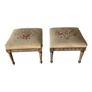 19th C Needle Point Swedish Stools - a Pair For Sale