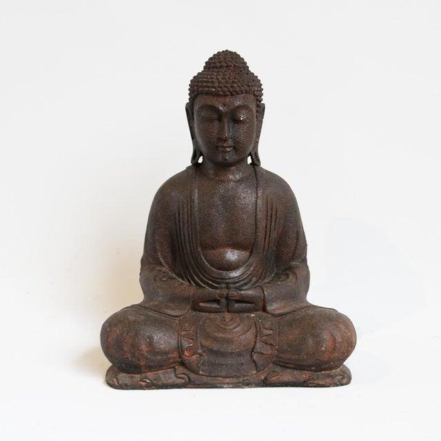 Small Cast Stone Sitting Buddha Figure - Image 2 of 3