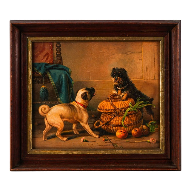 Antique Watercolor Painting of Dogs For Sale
