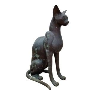 1960s Vintage Bronze Cat Sculpture For Sale