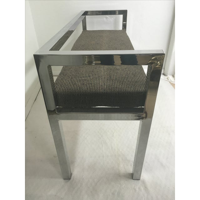 Modern Stainless Steel Bench For Sale - Image 3 of 4