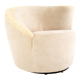 Vladimir Kagan for Directional Mid Century Nautilus White Suede Leather Lounge Chair For Sale