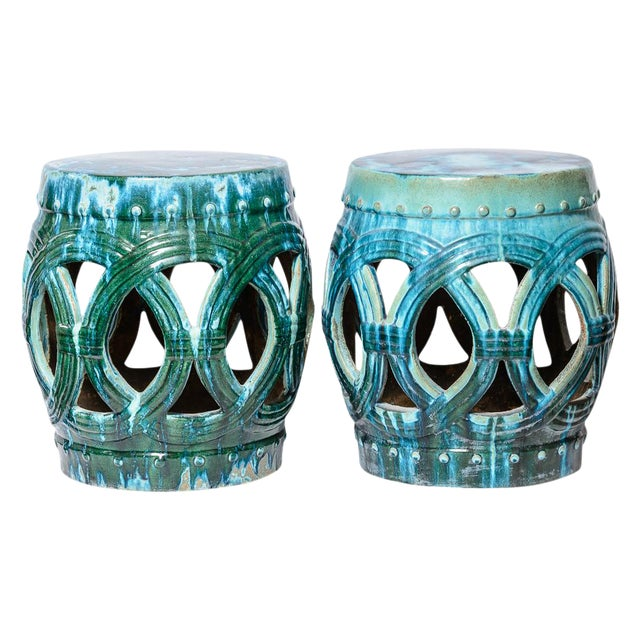 Chinese Old Large Green & Blue Glazed Terra Cotta Barrel Shape Garden Stool, A-Pair For Sale