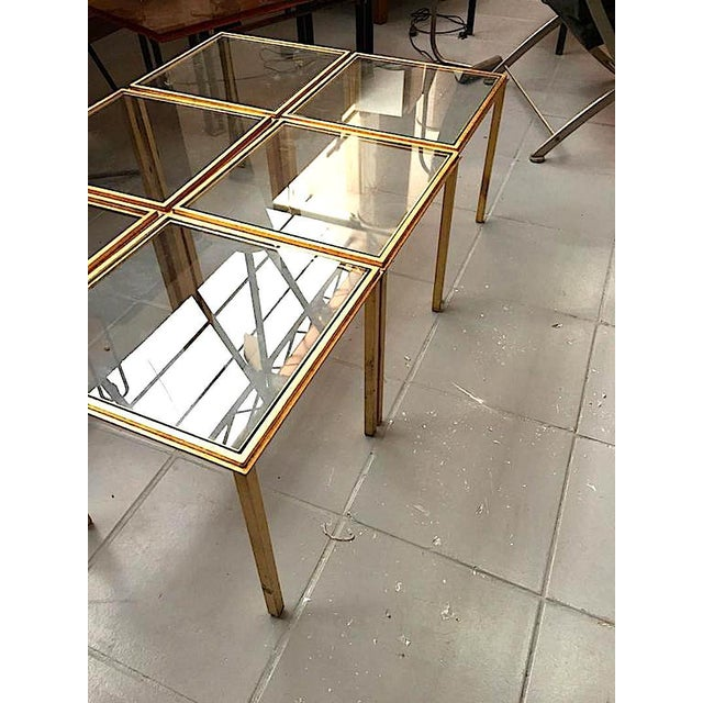 Contemporary Roger Thibier Spectacular Gold Leaf Wrought Iron Big Coffee Table Made of 6 Unit For Sale - Image 3 of 6