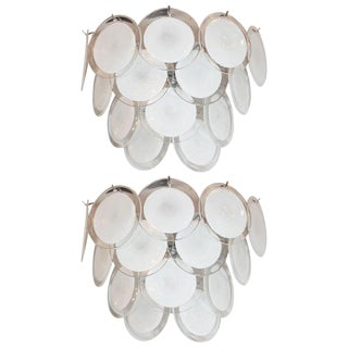 Modernist 14-Disc Sconces in Hand Blown Murano White & Translucent Glass - a Pair For Sale