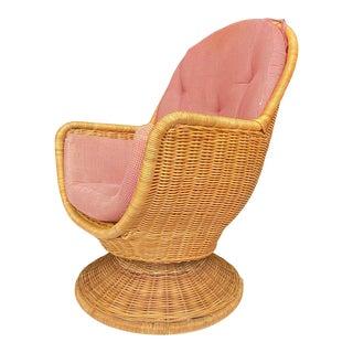 1970s Vintage Egg Shaped Wicker Rattan Swivel Tilt Chair For Sale