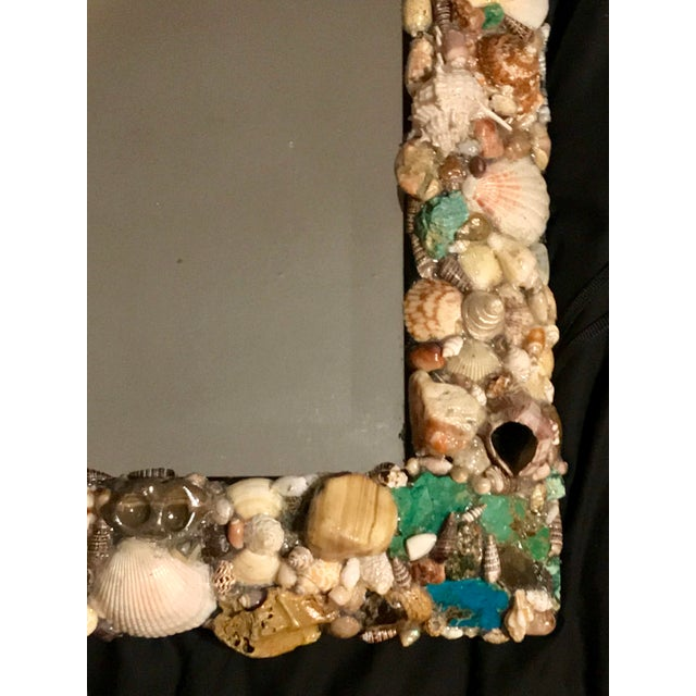 Turquoise and Seashell Embellished Mirror For Sale - Image 4 of 9