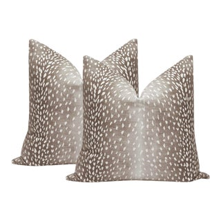 "22"" Mocha Antelope Linen Print Pillows - a Pair For Sale"