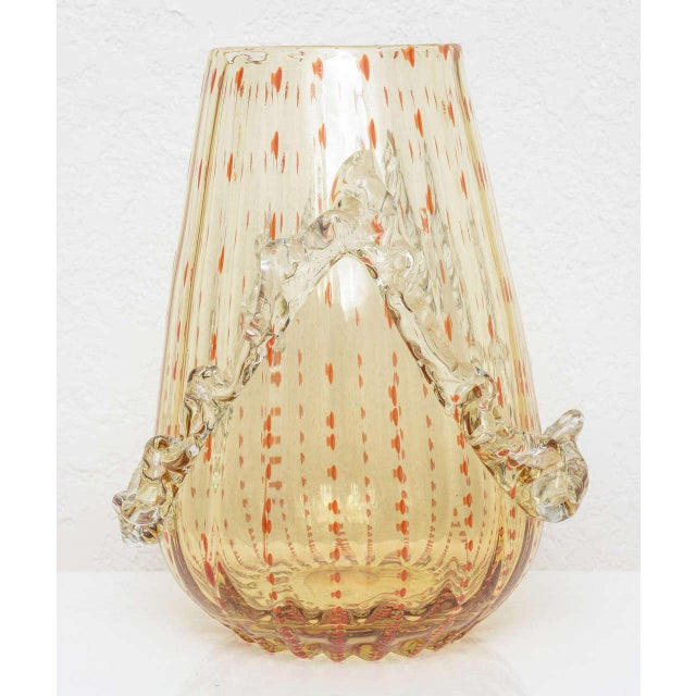 Barovier & Toso Amber and Dark Orange Colored Murano Glass Vase For Sale In West Palm - Image 6 of 13
