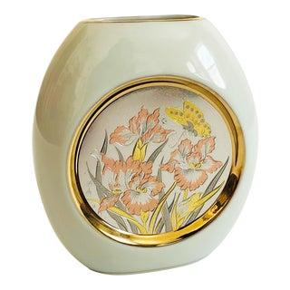 Vintage Japanese Iris Pillow Vase For Sale
