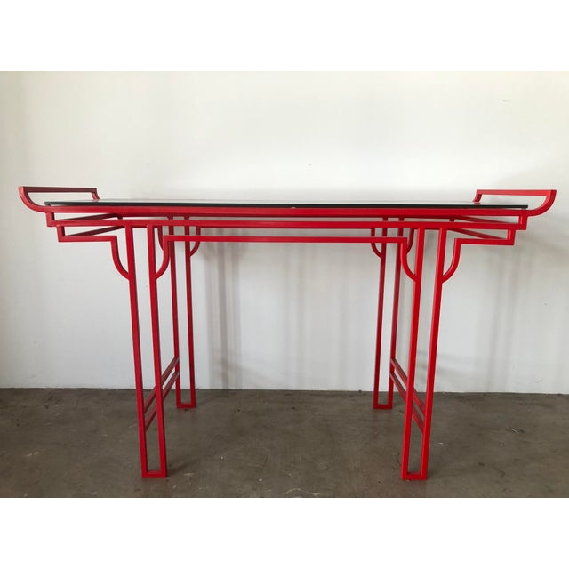 Asian Red Laquer Console With Glass Top For Sale In West Palm - Image 6 of 6