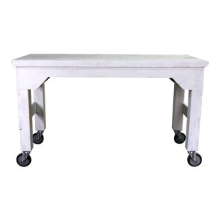 Primitive Industrial Farmhouse Style White Painted Rolling Work Table Island For Sale