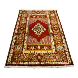 Vintage Turkish Anatolia Handwoven Floral Yahyali Rug For Sale