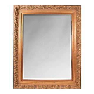 Large Beveled Gilt Wood Frame Mantle Hanging Wall Mirror For Sale