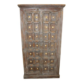 Antique Brass Medallion Wardrobe Armoire