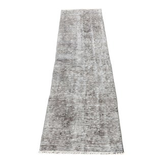 1980s Vintage Turkish Overdyed Gray Runner Rug - 1′10″ × 6′11″ For Sale