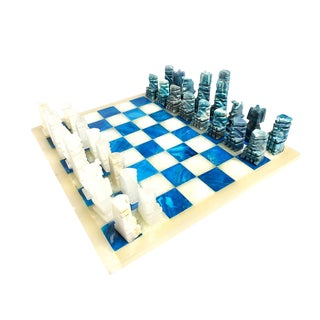 Vintage Blue and White Onyx Aztec Figurine Chess Set For Sale