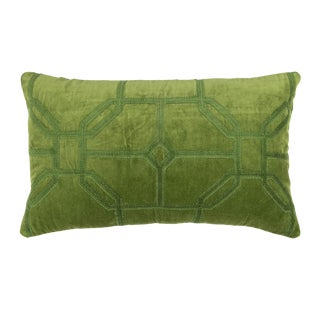 Contemporary Tr Essentials Green Cotton/Velvet Embroidery Pillow - 14x22 For Sale