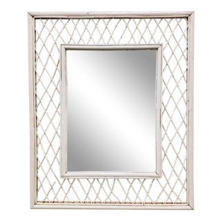Vintage White Painted Woven Wicker Wall Mirror For Sale
