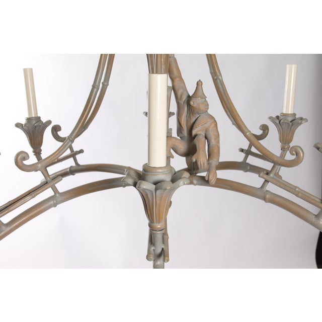 Serge Roche Style Plaster Chinoiserie Palm Chandelier - Image 5 of 7