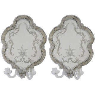 Venetian Rococo Revival Mirror Sconces - a Pair For Sale