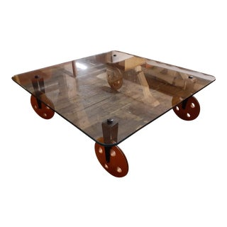 Post Modern Glass Coffee Table on Wheels by Gae Aulenti for Fontana Arte For Sale