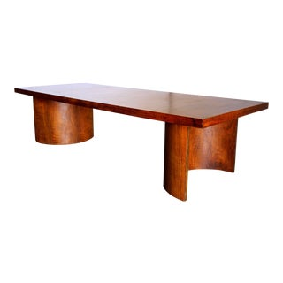 Kroehler Gilbert Rohde Style Mid-Century Modern Walnut and Paldeo Wood Platform Coffee Table For Sale