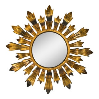 Gilt Metal Sunburst Mirror For Sale