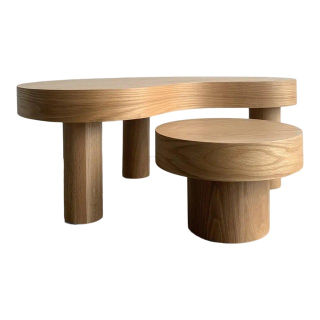 Contemporary Kidney Two Tiered Coffee Table - A Pair For Sale