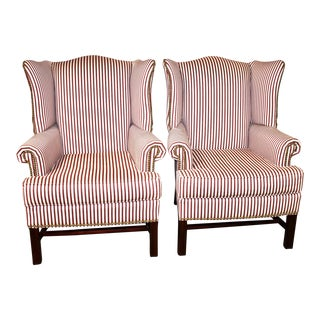 Chippendale Style Stripped Wingback Chairs - a Pair For Sale