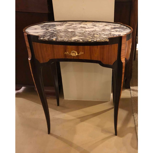 Brown 18th Century Louis XV Table With Marble Top Oval Shape For Sale - Image 8 of 11