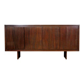 Mid-Century Modern Custom-Made Mahogany Credenza Red Granite Top For Sale
